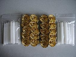 20 Metal Gold Clip On Candle Holders & 20 White Spiral Candl