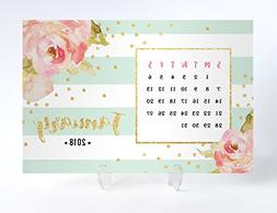 2018 Floral Desk Calendar with Clear Acrylic Stand Mint & Wh