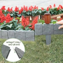 "20PC * 10"" Stone Look Plastic Lawn Edging Garden Flower Bed"