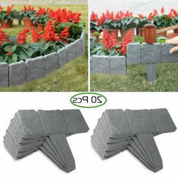 20pcs Home Garden Border Edging Plastic Fence Stone Lawn Yar