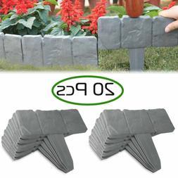 20pcs Home Garden Border Edging Plastic Fence Stone Look Law