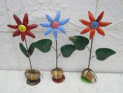 "22"" Recycled Tin Star Flowers Yard Ornament Folk Art Yard De"