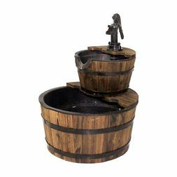Backyard Expressions 23 in. Two Tier Water Barrel Fountain