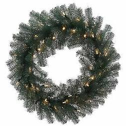 """Vickerman 24"""" Blue Crystal Artificial Wreath with Iridescent"""