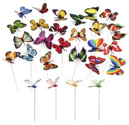 24 PCS Butterfly & Dragonfly Stakes Outdoor Yard Garden Flow