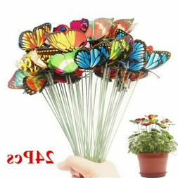 24PCS Butterfly Stakes Outdoor Yard Planter Flower Pot Bed G