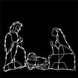 "Northlight 25.5"" White Holy Family Nativity Scene Christmas"