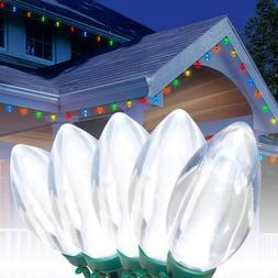 NEW Holiday 25 LED C9 Christmas Lights Cool White 14ft indoo