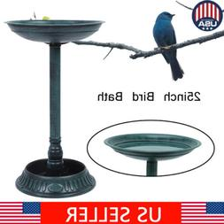 "25"" Height Pedestal Bird Bath Outdoor Garden Decor Vintage Y"