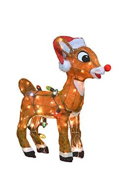 ProductWorks 32-Inch 3D Pre-Lit Rudolph The Red-Nosed Reinde