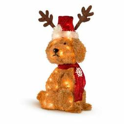"27"" Lighted Christmas Goldendoodle with Santa Hat & Antler S"