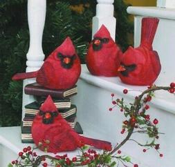 "2nd Large Resin Red Cardinal Bird Figurine 5.5"""