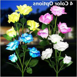 2PACK Solar Power Rose Flower Lights Garden Stake 4Heads LED