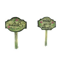 2pc Mini Welcome Believe Yard Sign Set Fairy Garden Accessor
