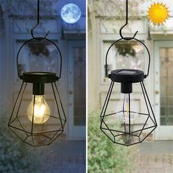 2PCS Retro Solar Hanging Lights Metal Lantern Lamp Outdoor G