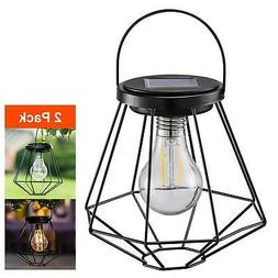 2PCS Retro Solar LED Lantern Hanging Light Yard Outdoor Pati