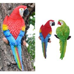 2x Collectible Animal Figurine Statue Parrot for Home Garden