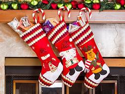 "3 Pcs Set - Classic Christmas Stockings 18"" Cute Santa's Toy"
