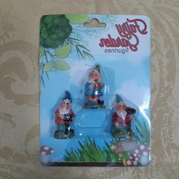 3 Fairy Garden Figurines Gnomes Mini Yard Home Decorations D