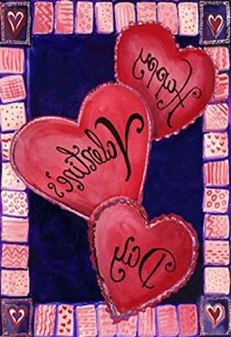 3 Hearts For Valentine's Day House Flag Love Heart Decorativ