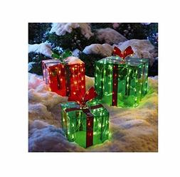 3 Lighted Gift Boxes Yard Decor 150 Lights Indoor Outdoor Ch
