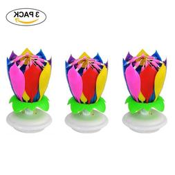 3 pack Birthday Candles Multi Color Musical Candle Lotus Rot