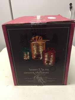 3 Round Lighted Gift Boxes ChristmasYard Decor Xmas Presen