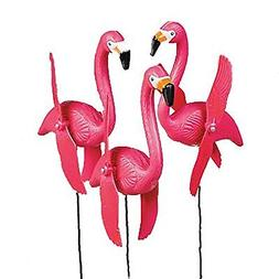 3 Spinning Pink Plastic Flamingo Birds Yard Lawn Stakes