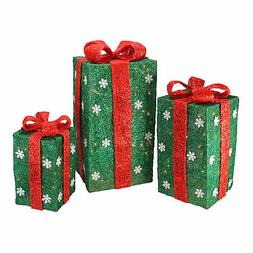 Northlight 3 Tall Green Sisal Gift Boxes Lighted Christmas Y