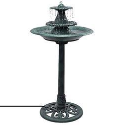 Giantex 3-Tier Pedestal Bird Bath Fountain W/Pump Polyresin