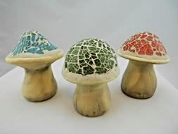 3 Yard Art Garden Mushrooms Mosaic Glass Ceramic Outdoor Dec