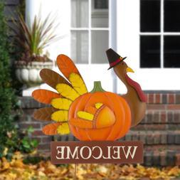 Glitzhome 30''H Thanksgiving Metal Turkey Welcome Yard Stake