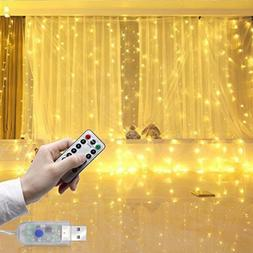 300 LED Curtain Fairy Lights USB String Hanging Wall Lights