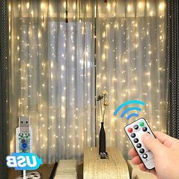 300LED Party Wedding Curtain Fairy Lights USB String Light H