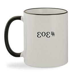 #303 - 11oz Hashtag Colored Rim & Handle Sturdy Ceramic Coff