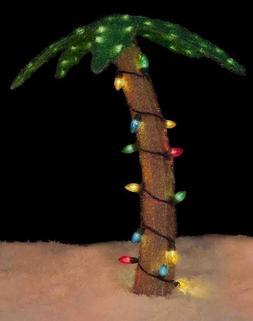"32"" Pre-Lit Soft Tinsel Palm Tree Christmas Yard Art Decorat"