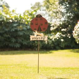 "Glitzhome 36""H Antique Wood Rustic Ladybug Garden Yard Stake"