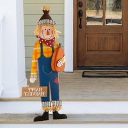 "Glitzhome 36""H Metal Scarecrow Yard Stake Fall Harvest Porch"