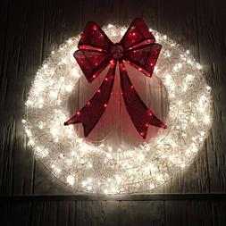 """36"""" Lighted Red & White Christmas Wreath Outdoor Holiday Yar"""