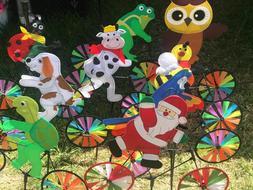 3D Happy Animal on Bike Windmill Wind Spinner Whirligig Gard