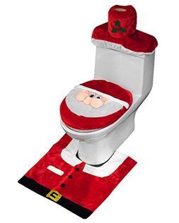 D-FantiX 3D Nose Santa Toilet Seat Cover Set Red Christmas D