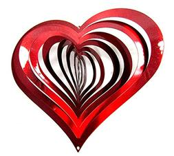 Shipityourway 3D Wind Spinner Heart Red Metal Reflective Yar