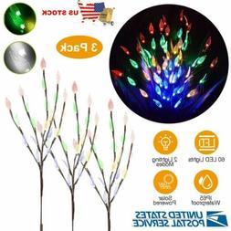 3pcs Solar Leaf Tree Branches Garden Yard Lawn Walkway Outdo