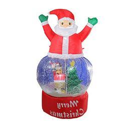 Northlight 4.75' Inflatable Santa Claus Snow Globe Lighted C