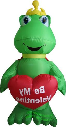 4' Air Blown Inflatable Valentine's Day Frog Holding Heart Y