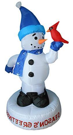 4 Foot Christmas Inflatable Snowman with Bird Yard Decoratio