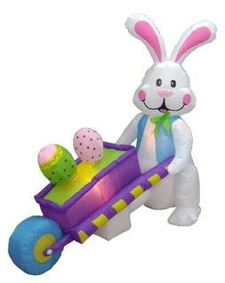 4 Foot Inflatable Party Bunny Pushing Wheelbarrow with Eggs