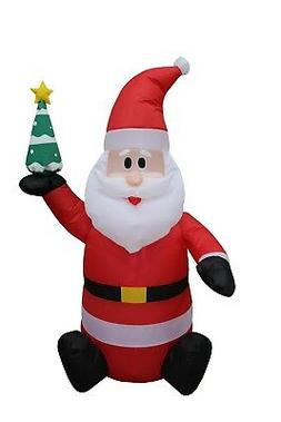 4 Foot Tall Christmas LED Inflatable Santa Claus w/ Tree Sap