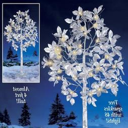 4 Ft Christmas Silver Leaf Lighted Tree Yard Decoration 48 L