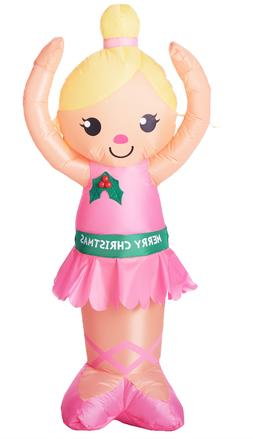 Holiday Time Inflatable Ballerina Merry Christmas Yard Decor